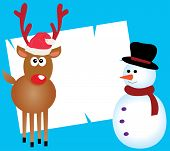 stock photo of rudolf  - Vector illustration of a card with Rudolf and snowman - JPG