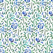 Seamless Pattern Of Blue Anemone Flowers In Post-impressionism Style poster