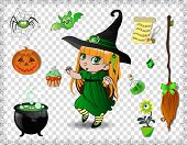 Green Halloween Cartoon Set Of Various Objects For Witches And Cute Little Witch In Costume And Hat  poster