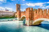 Castelvecchio Bridge, Aka Scaliger Bridge, Iconic Landmark In Verona, Italy poster