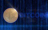 Golden Bitcoin Digital Currency, Futuristic Digital Money, Technology Worldwide Network Concept. Vir poster