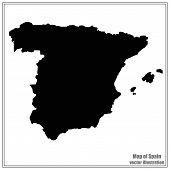 Map Of Spain. Black Illustration With Map. Spain Map In Black Colors. Vector Illustration. poster