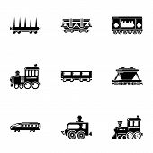 Steam Locomotive Icons Set. Simple Set Of 9 Steam Locomotive Vector Icons For Web Isolated On White  poster