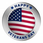 American Veterans Day Logo. Realistic Illustration Of American Veterans Day Vector Logo For Web Desi poster