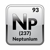 Neptunium Symbol.chemical Element Of The Periodic Table On A Glossy White Background In A Silver Fra poster
