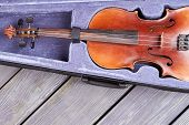 Brown Violin In Velvet Case. Instrument Of Classical Music On Rustic Wooden Boards. Favorite String  poster