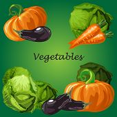 Poster With A Picture Of Ripe And Healthy Vegetables Isolated On Green Background. Ripe Pumpkin, Egg poster