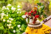 The Berries Of Viburnum And Chokeberry In A Vase Isolated On Nature Background On Yellow Scarf.rowan poster