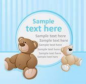 stock photo of teddy-bear  - Blue template with bears - JPG