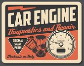 Car Engine Diagnostics And Repair Service, Auto Parts. Vehicle Internal Combustion Engine And Tachom poster