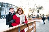 Senior Couple On A Walk In A City In Winter. poster