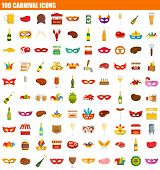 100 Carnival Icon Set. Flat Set Of 100 Carnival Vector Icons For Web Design poster