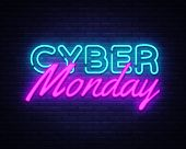 Cyber Monday Concept Banner In Fashionable Neon Style, Luminous Signboard, Nightly Advertising Of Sa poster