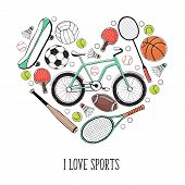 Collection Of Vector Sport Equipment. I Love Sports Illustration. Hand Drawn Sport Balls, Rackets, B poster