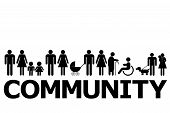 Community Concept With People Pictograms And Word Community poster
