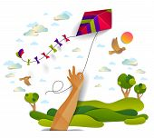 Hand Holding Kite Over Cloudy Sky Birds Flying And Sun, Meadows And Trees Scenic Nature Landscape, F poster