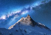 Milky Way Above Snowy Mountains In Nepal. Space poster