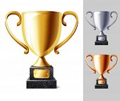 foto of trophy  - vector illustration of Trophy cup - JPG