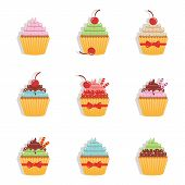 Hand Drawn Cupcake. Sweet Bakery Shop. Cupcake Logo. Sugar Food. Sweet Cream. Set Of Sweet Sugar Cup poster