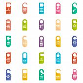 Hanger Tags Door Card Hotel Icons Set. Flat Illustration Of 25 Hanger Tags Door Card Hotel Vector Ic poster