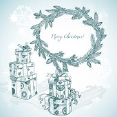 Christmas hand drawn gifts and fir tree wreath
