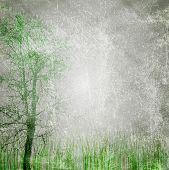 stock photo of gobelin  - Grass and tree on grunge canvas - JPG