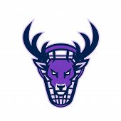 Mascot Icon Illustration Of Head Of A Deer, Buck Or Stag Viewed From Front With Lacrosse Stick In Ba poster