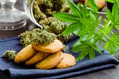 Sweets With Weed. Baking With The Addition Of Cbd. Cookies With Marijuana. Sweets With Cannabis. Can poster