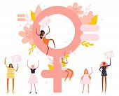 Small Characters Girl Feminists And Big Venus Symbol, Trendy Illustration poster