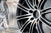 Alloy Wheels In Wheel Shop.wheel Rims On Showcase. Car Alloy Wheels At A Wheel Shop Or Automobile Ex poster