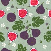 Ripe Red Figs And Half-cut Figs Seamless Pattern. Red Figs With Leaves And Flowers On Shabby Backgro poster