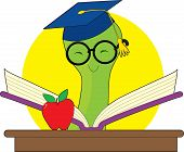image of bookworm  - Green bookworm with a mortar cap reading a book on a desk with an apple - JPG