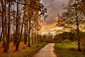 Autumn Park at Sunset, Novgorod the Great, Russia