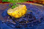 stock photo of crown green bowls  - Splash with fresh mandarin - JPG