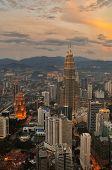 image of petronas towers  - Kuala Lumpur Sunset Scene with Petronas Towers - JPG