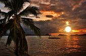 stock photo of sunset beach  - Paradise Tropical Sunset Seaside Scene - JPG