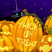 Poster In Style Of Holiday All Evil Halloween. The Sly Cat In Witch Hat And Pumpkins At Midnight. Gl poster