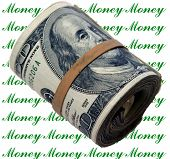 A rather thick bank roll of 100.00 dollar bills rolled up and held in place by a rubber band photosh
