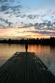 foto of dock a lake  - Sunrise at  - JPG