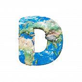 World Earth Globe Alphabet Letter D Uppercase. Global Worldwide Font With Nasa Map. 3d Render Isolat poster