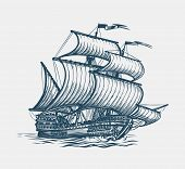 Vintage Sailing Ship. Seafaring, Sailer Concept. Sketch Vector Illustration poster
