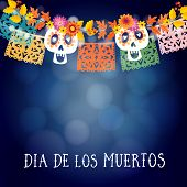 Dia De Los Muertos, Mexican Day Of The Dead Or Halloween Card, Invitation With Garland Of Lights, Sc poster