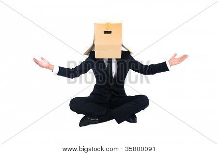 Isolated business man with box on head
