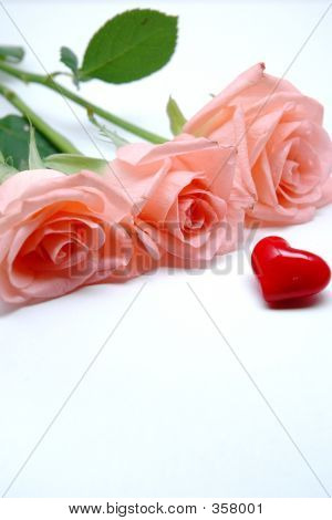 Pink Roses And Red Heart