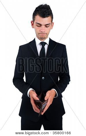 Isolated young business man poor