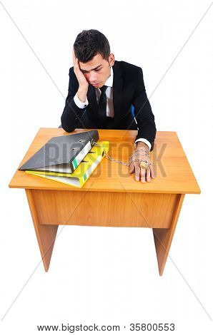 Isolated business man workaholic at desk