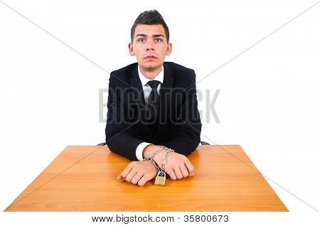 Isolated business man corrupt tied with chain
