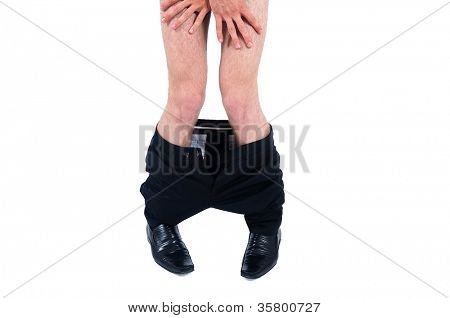 Isolated Business man pants down