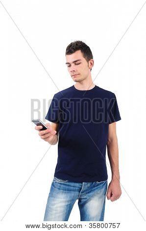 Isolated casual man with phone