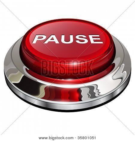 Pause button, 3d red glossy metallic icon, vector.